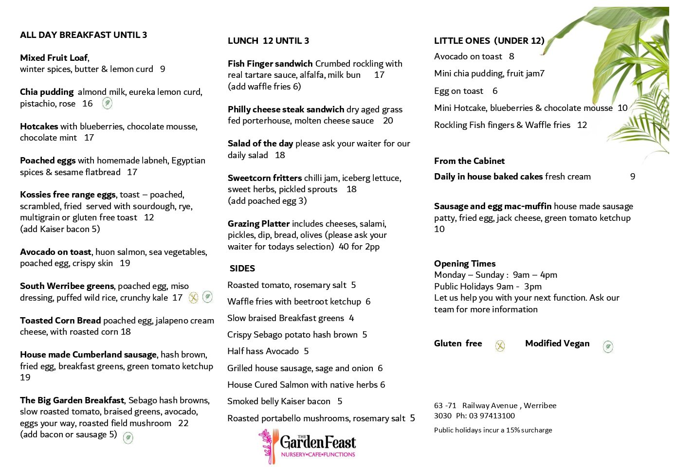 The Feasting Shed Winter menu