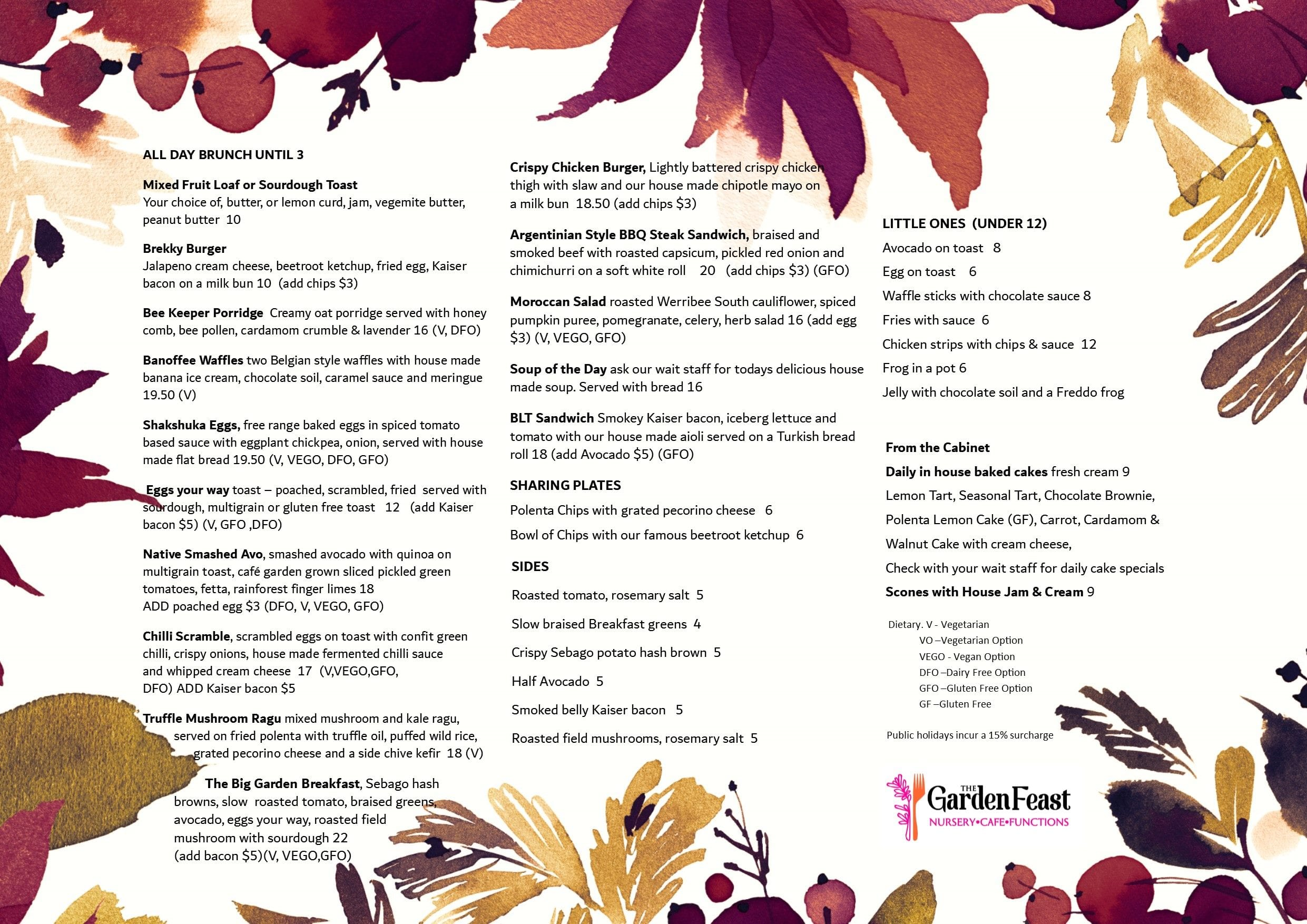 Garden Feast Autumn Menu